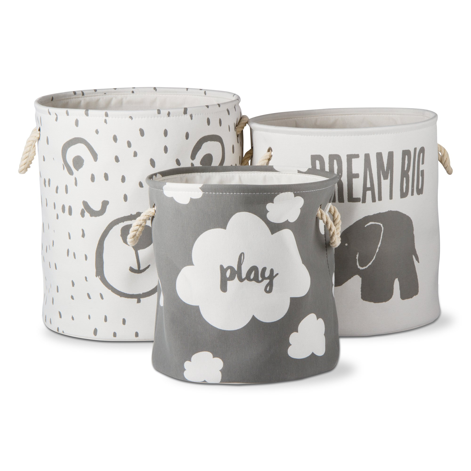 tag - Dream Big Basket, The Perfect Addition to Your Child's Room or Nursery, Gray & White (Set of 3)