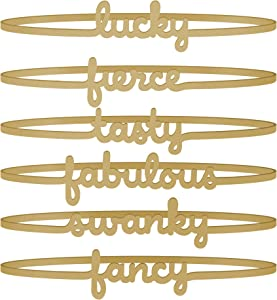 Fred 5218469 WINE LINES Stretchable Silicone Drink Marker Bands, Gold, White