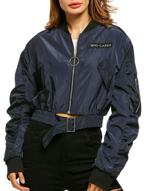 Zeagoo Womens Fashion Casual Zip-Up Short Bomber Jacket