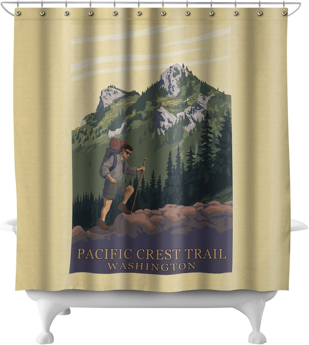 Pacific Crest Trail, Washington - Mountain Hiker (71x74 Polyester Shower Curtain)