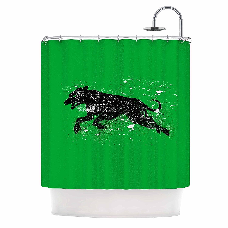69 by 70 Kess InHouse BarmalisiRTB Black Dog Green Animal Shower Curtain