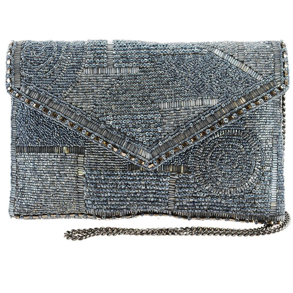 Mary Frances Victory, Silver Beaded Solid Pattern Crossbody Envelope Clutch
