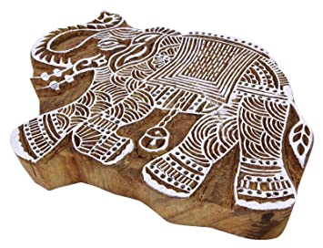 Elefant Stempel indische Holz Stempel Block handgeschnitzt Textile Stempel