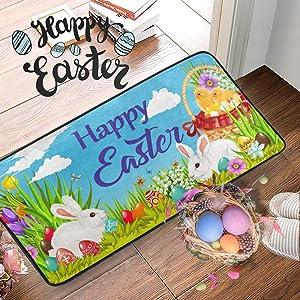Easter White Rabbit Doormat Floor Mats 20x39 in Eggs Spring Flowers Tuilps Indoor Entrance Welcome Mat Bunny Chicken Entryway Standing Pet Mat Kitchen Front Door Bedroom Office Bathroom Holiday Decor