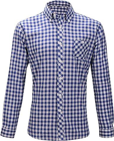 Camisa de algodón para hombre TK-grupo, para Oktoberfest, talla M/L, a cuadros, color rojo + azul/blanco (L, azul/blanco): Amazon.es: Ropa y accesorios