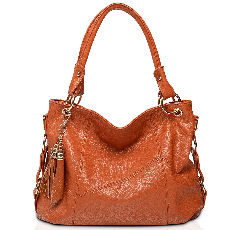 Vintga Genuine Leather Tote Bag Top Handle Satchel Handbag Tassel Shoulder Bag Large Purse Crossbody Bag for Women (Brown)