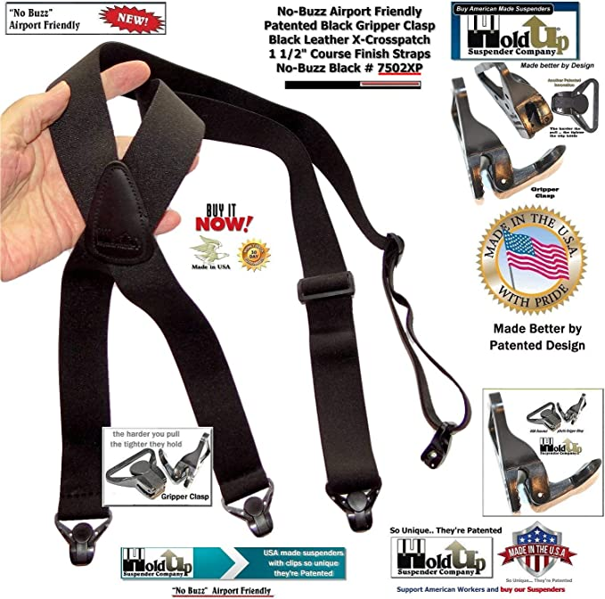 Charger Brown Elastic Suspenders 1.3 inch wide with Raw color Leather Back Strip and trigger snaps for men and women Hosentr\u00e4ger