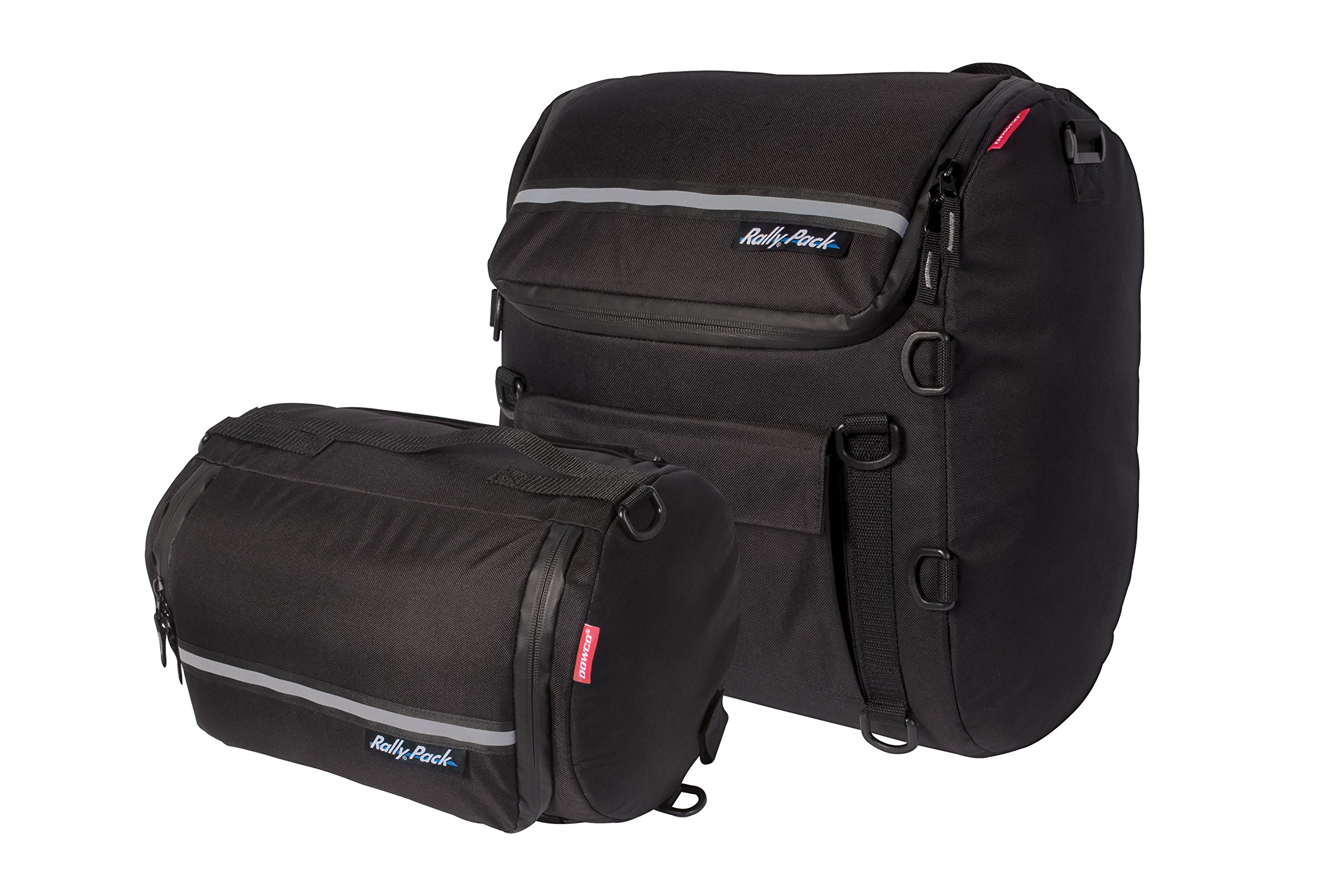 Dowco Rally Pack by 50030-00 Water Resistant Reflective 2 Piece Motorcycle Luggage System: Black, 35 Liter Large Bag/21 Liter Small Bag Capacity