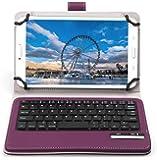 Raytrektab DG-D08IWP ケース,【IVSO】 Raytrektab DG-D08IWP キーボード (7-8インチのタブレットも適用) 開閉で自動的 PUレザーケース マグネット着脱可能 一体型ワイヤレスキーボード(パープル)