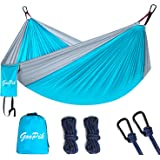 "GooPik Double Camping Hammock With Hammock Tree Straps & Strong Carabiners-1000LB High Capacity,Large Nylon Parachute Hommock for Backpacking Travel, Beach, Yard.126(L) x 78""(W)"