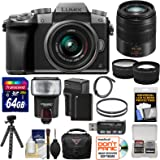 Panasonic Lumix DMC-G7 4K Wi-Fi Digital Camera & 14-42mm (Silver) with 45-150mm Lens + 64GB Card + Case + Flash + Battery & Charger + Tripod + 2 Lens Kit