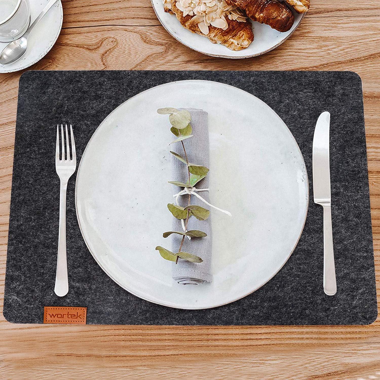 lavable 4 unidades wortek Fieltro 44 x 32 cm Negro Mantel individual de fieltro mantel lavable para mesa de comedor