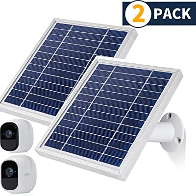 iTODOS Solar Panel Compatible with Arlo Pro and Arlo Pro 2, 11.8Ft Outdoor Power Charging Cable and Adjustable Mount ,Not for Arlo Ultra and Arlo Pro3(2 Pack, Silver): Camera & Photo