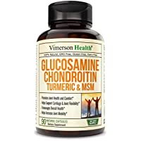 Glucosamine with Chondroitin Turmeric MSM Boswellia. Supports Occasional Joint Pain Relief. Helps Inflammatory Response, Antioxidant Properties. Supplement for Back, Knees, Hands. 90 Capsules