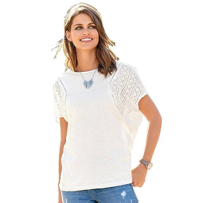 VENCA Camiseta Escote Redondeado y canesú en la Espalda Mujer by Vencastyle - 008208, Crudo, XL: Amazon.es: Ropa y accesorios