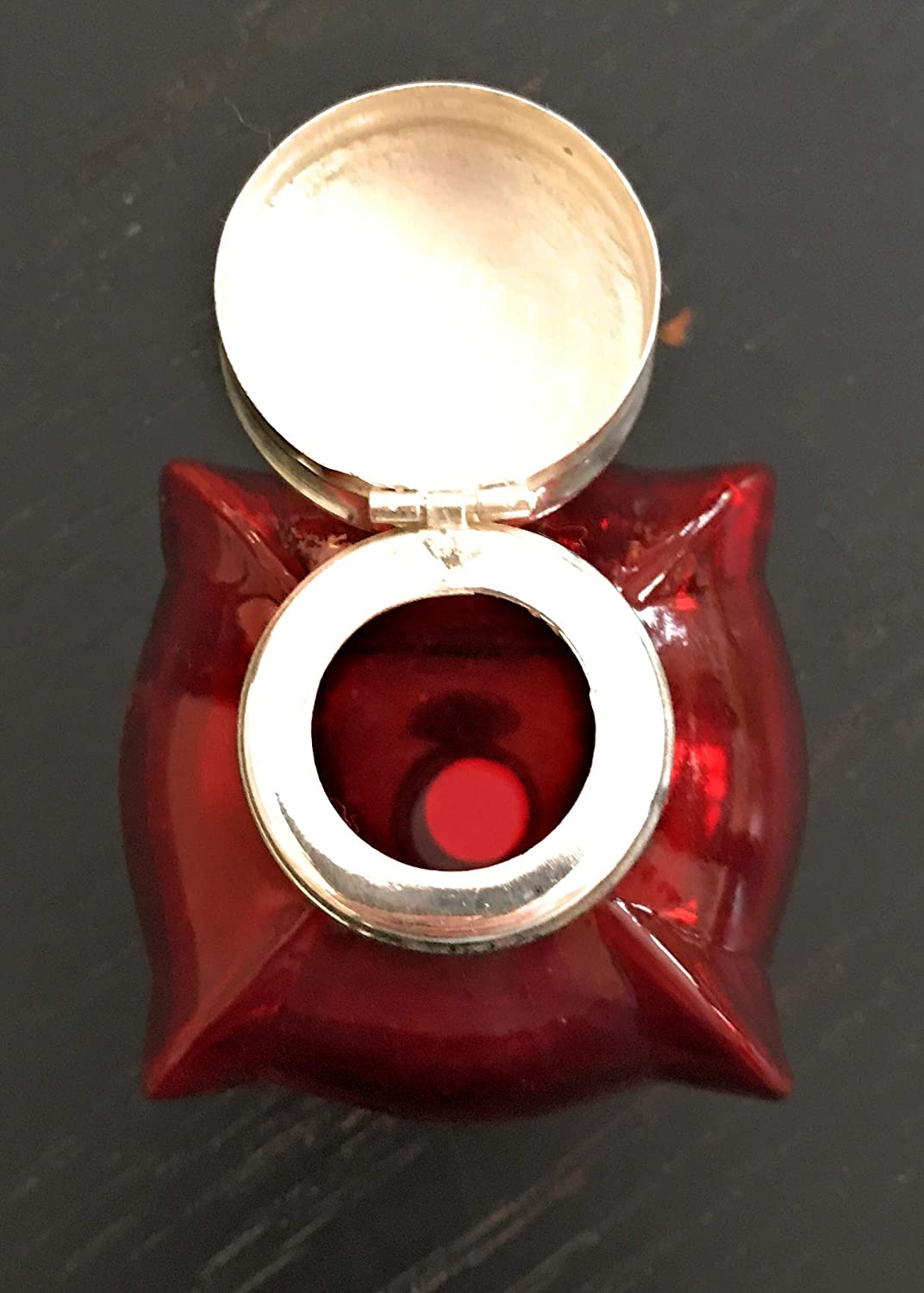 Square Bubble Shaped 2.75 Inches Wide X 3.25 Inches Tall Madison Bay Company Red Glass Inkwell