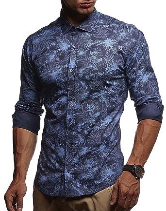 a1634d2093f9 LEIF NELSON Herren Hemd Slim Fit modernes Freizeithemd Kurzarm Kurzarmhemd  Langarm Shirt Business Freizeit Party LN3525  Amazon.de  Bekleidung