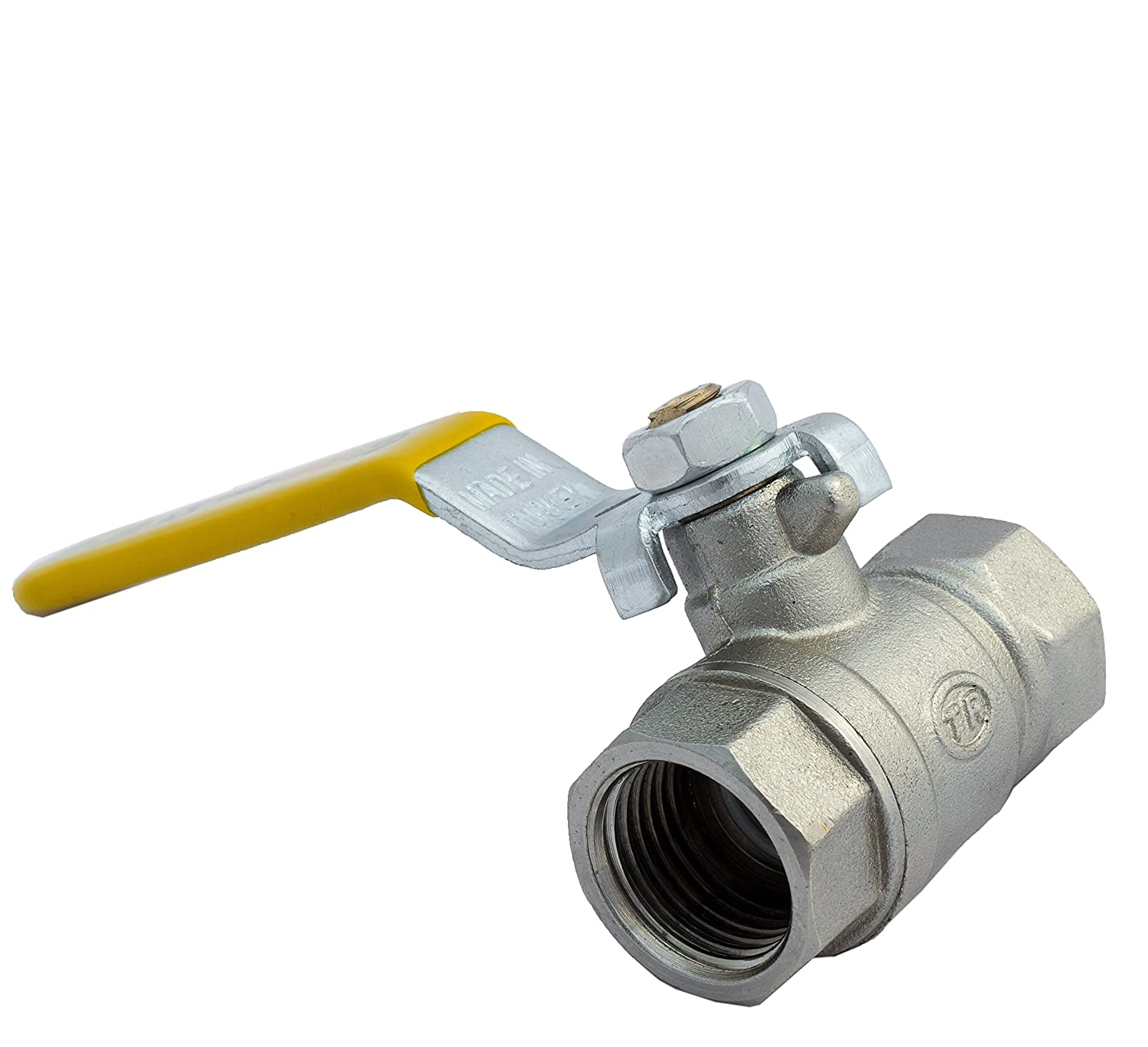 1/2' Gas Ball Valve FEMALE X FEMALE BSP TF with Yellow Lever Handle BFG