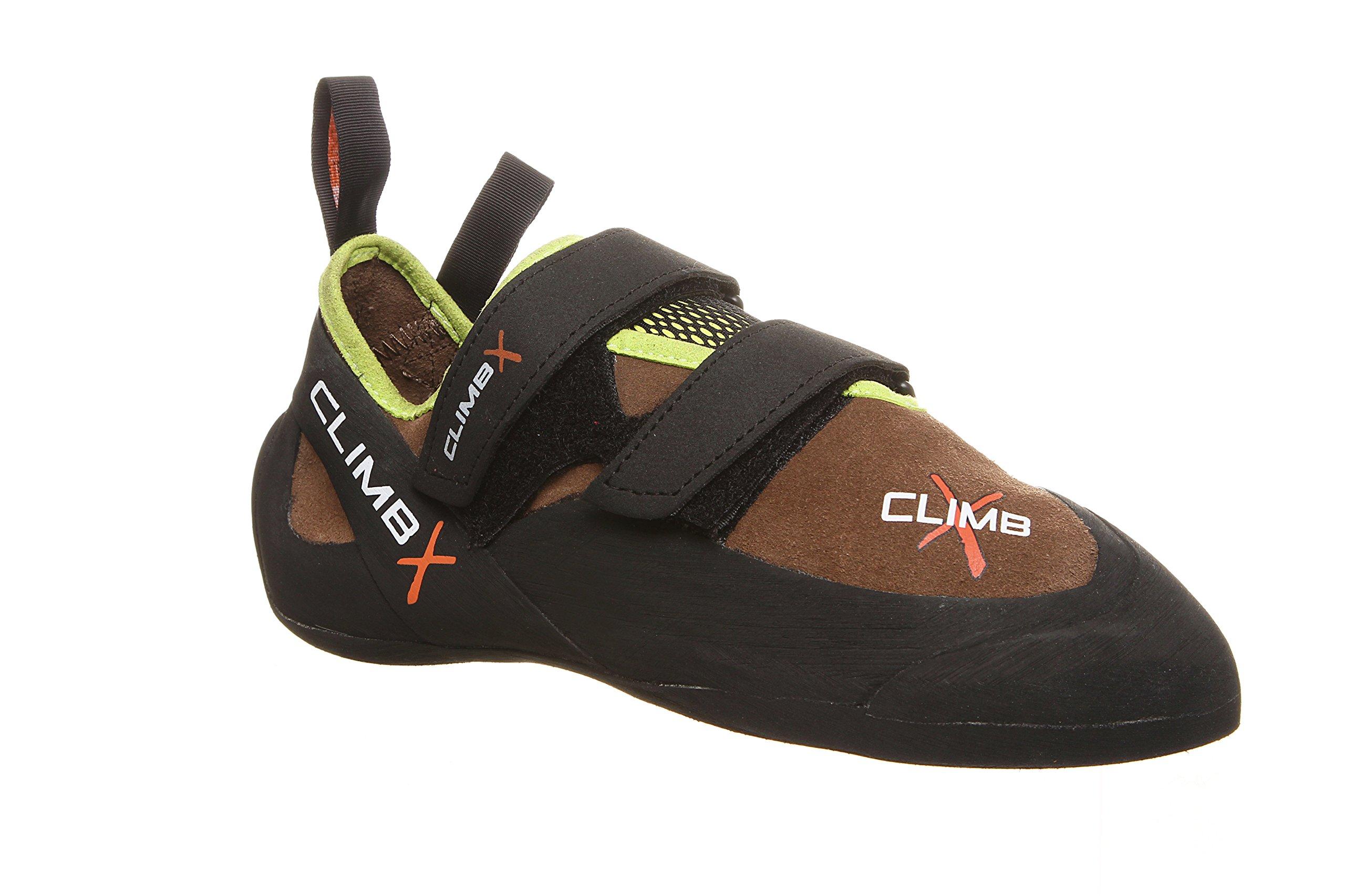 Climb X Rave Trainer Climbing Shoe with Free Sickle M-16 Climbing Brush (Men's 4, Chocolate)