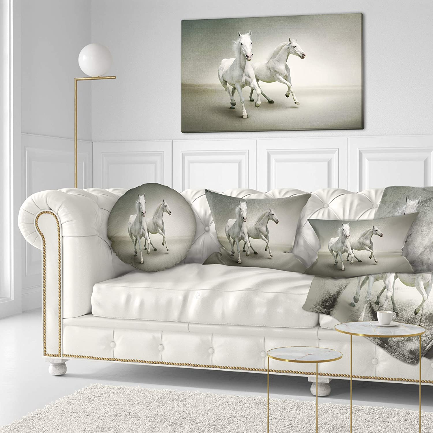Insert Printed On Both Side Sofa Throw Pillow 20 Designart CU13476-20-20-C Fast Moving White Horses Animal Round Cushion Cover for Living Room