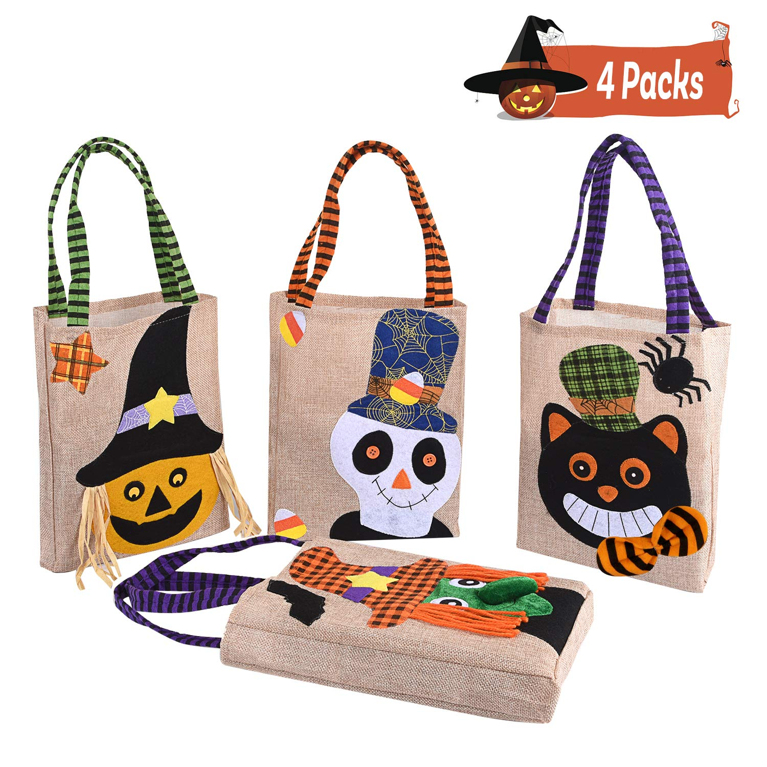 Xflyee Halloween Tote Bag 9.1'' x 1.5'' x 11.2''(excluding Hand Straps) Reusable Trick or Treat Bag Pumpkin Candy Bags Trick or Treat Goody Bag for Children Halloween Themed Party Set of 4 by Xflyee