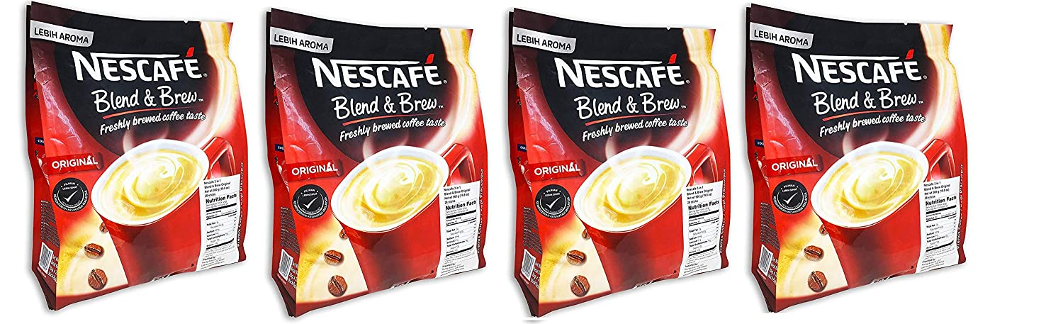 [4 PACK] Nescafé 3 in 1 Instant Coffee Sticks ORIGINAL - Best Asian Coffee Imported from Nestle Malaysia (112 Sticks)