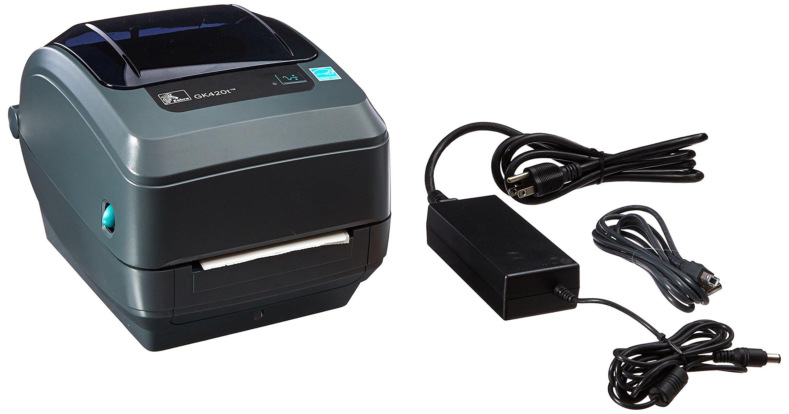Zebra GK420t Monochrome Desktop Direct Thermal/Thermal Transfer Label Printer with Fast Ethernet Technology, 5 in/s Print Speed, 203 dpi Print Resolution, 4.09'' Print Width, 100/240V AC