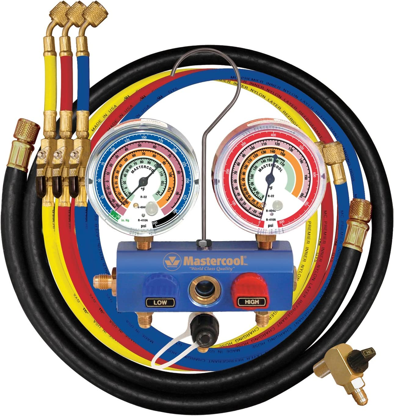 "MASTERCOOL (59861 Blue R410A, R22, R404A 3-Way Manifold Set with 3-1/8"" Gauges and 60"" Hoses"