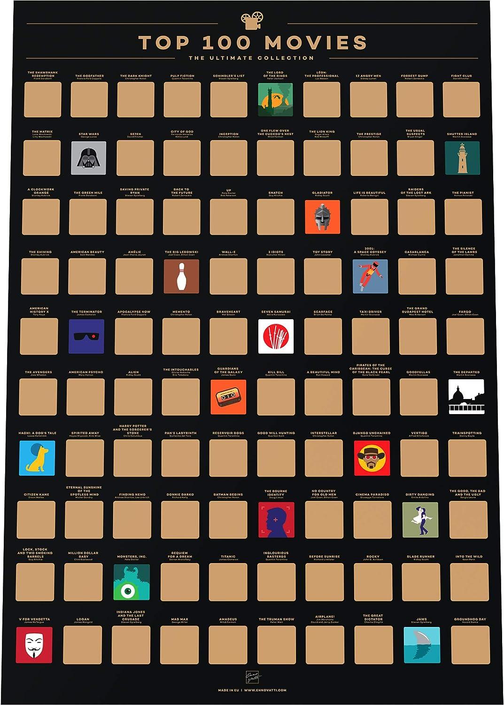 Enno Vatti 100 Movies Scratch Off Bucket List Poster - Póster de rascar de Las 100 Mejores películas Lista de Las Mejores películas de Todos los años (42 x 59,4 cm)