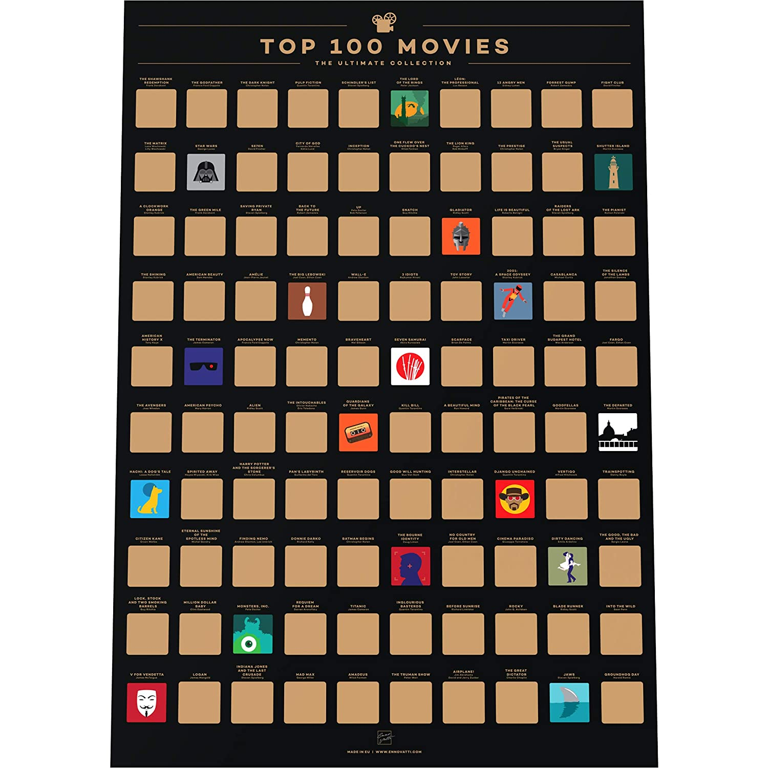 "Enno Vatti 100 Movies Scratch Off Poster - Top Films of All Time Bucket List (16.5"" x 23.4"")"