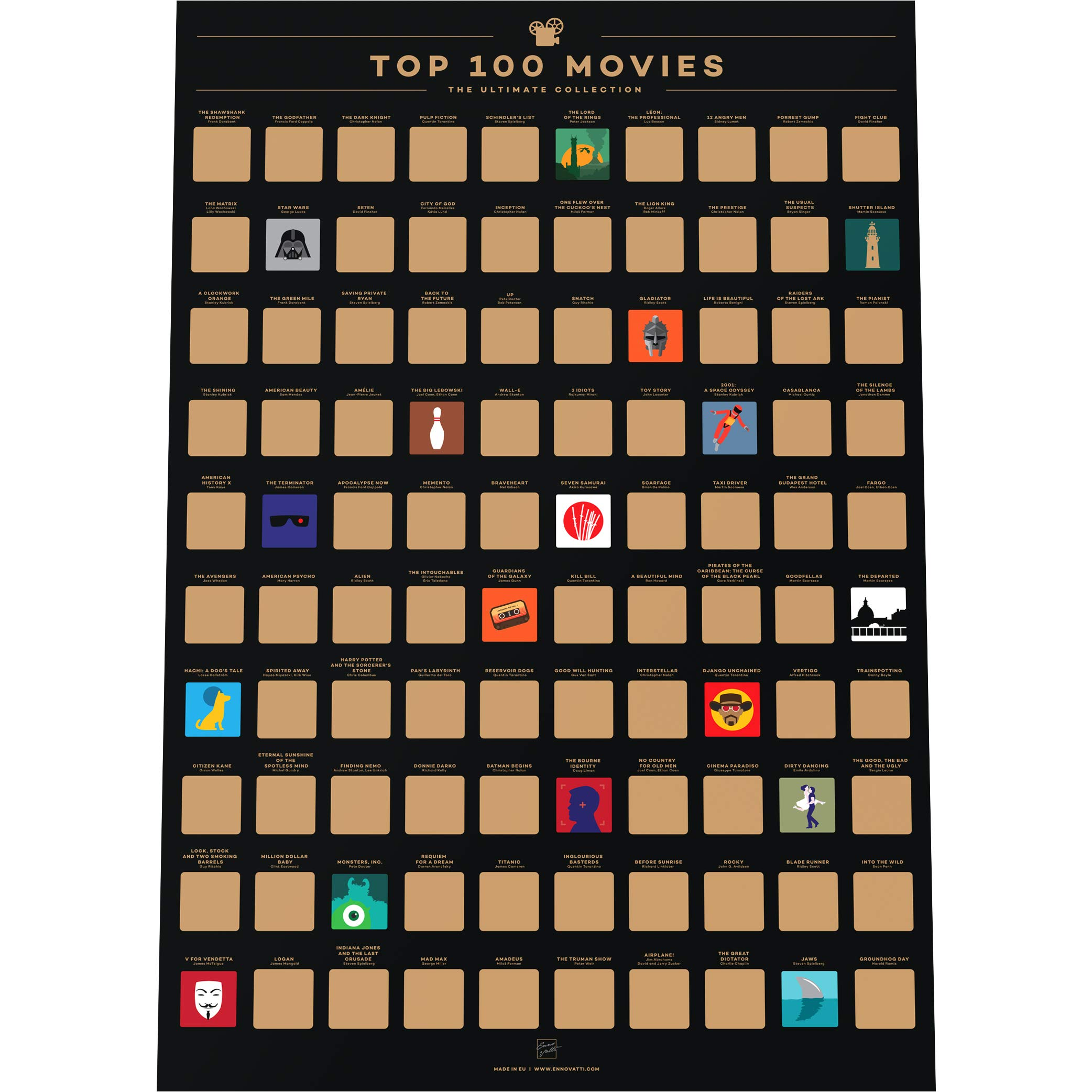 """Enno Vatti 100 Movies Scratch Off Poster - Top Films of All Time Bucket List (16.5"""" x 23.4"""")"""