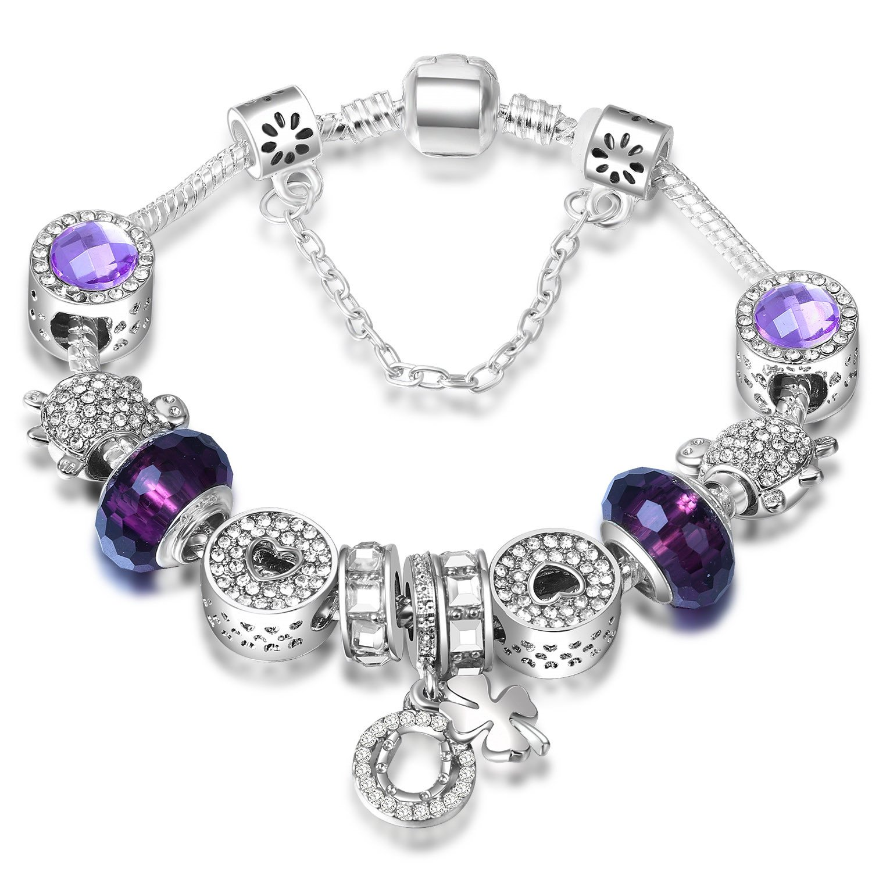 ATE Charm Pulsera Mujer Los Beads de Cristal como Regalo de una Mujer #JW-B