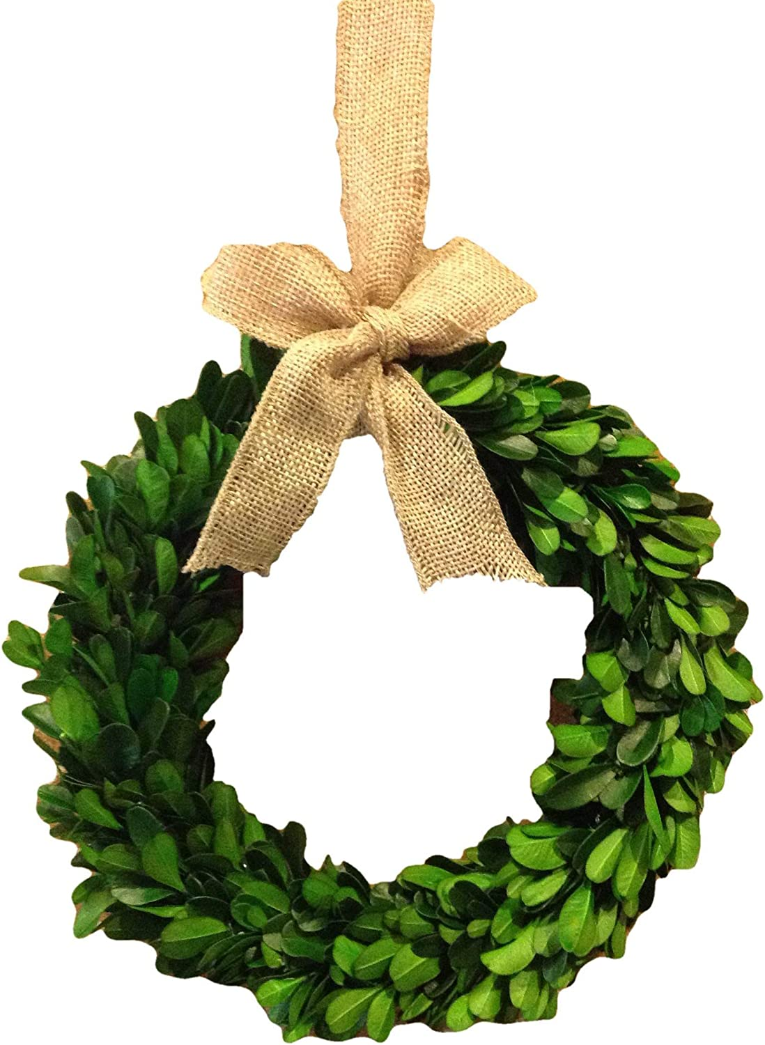 Flora Decor Preserved Boxwood Wreath W/Burlap Bow - 8""