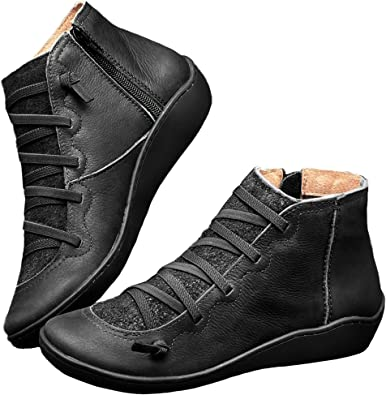 Black Booties shoes flat leather Boots for women