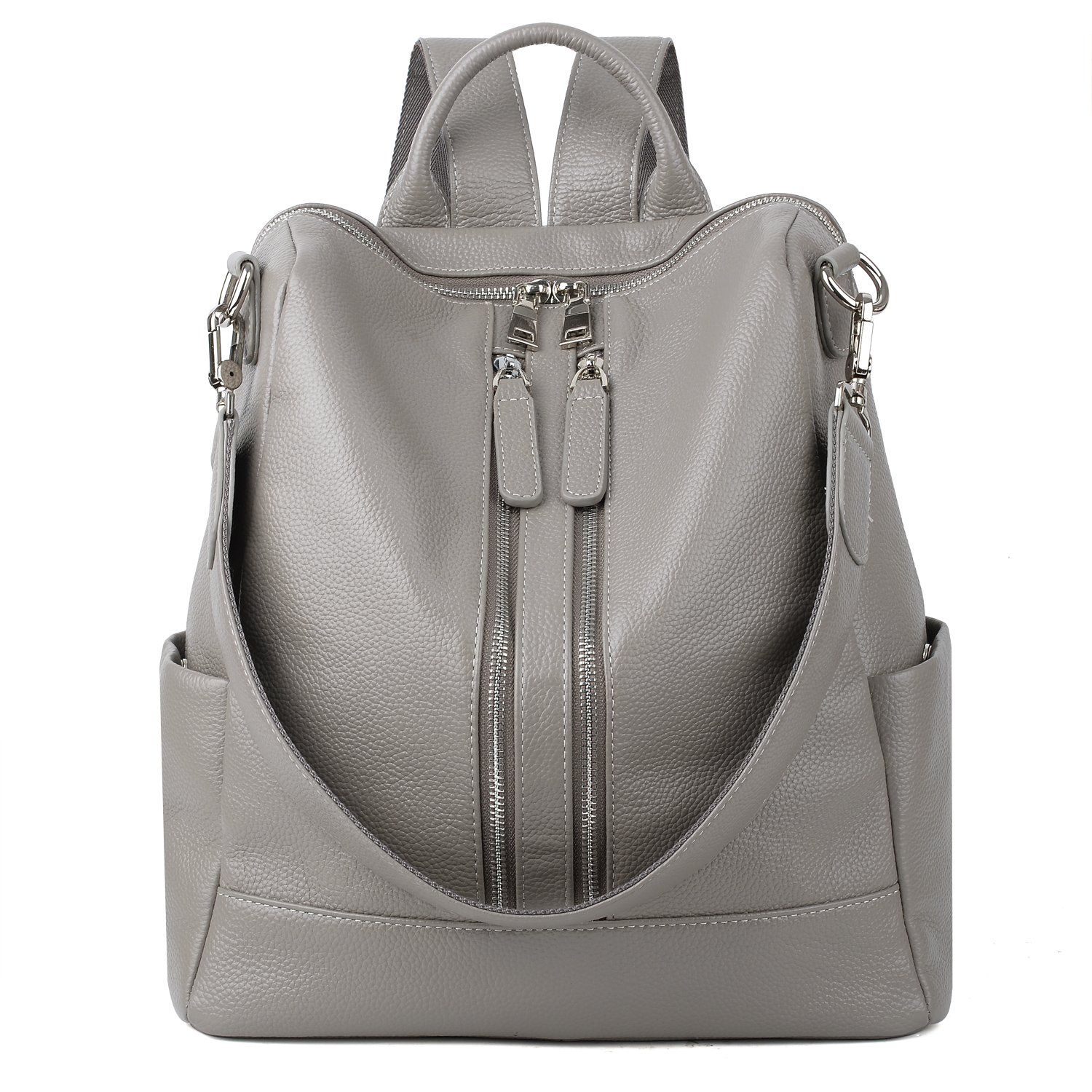 Grey Yaluxe Women's Large Leather Backpack Versatile Shoulder Bag Congreenible Purse Upgraded