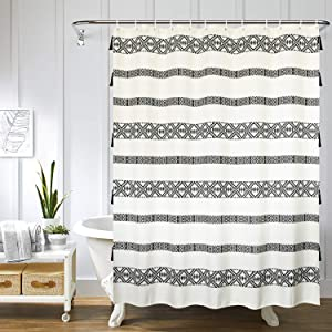 Uphome Tassel Shower Curtain Boho Cream and Black Geometric Striped Fabric Shower Curtain Set with Hooks Chic Bathroom Decor,Heavy Duty Waterproof, 72x72