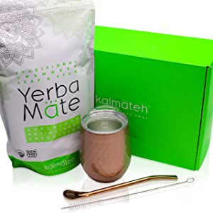 Kalmateh Yerba Mate Starter Set– Modern 8 oz Double Walled Stainless Steel Mate Cup with BPA Free Lid, Bombilla/Bombilla Cleaner & Organic Unsmoked Yerba Mate (1lb) (Rose Gold)