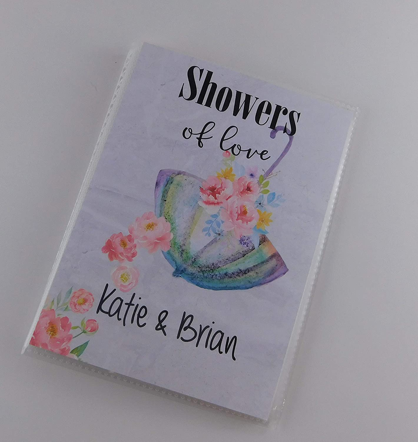 Bridal Shower Photo Album IA#006 Personalized Wedding Flowers Umbrella Baby Gift 4x6 or 5x7 Pictures