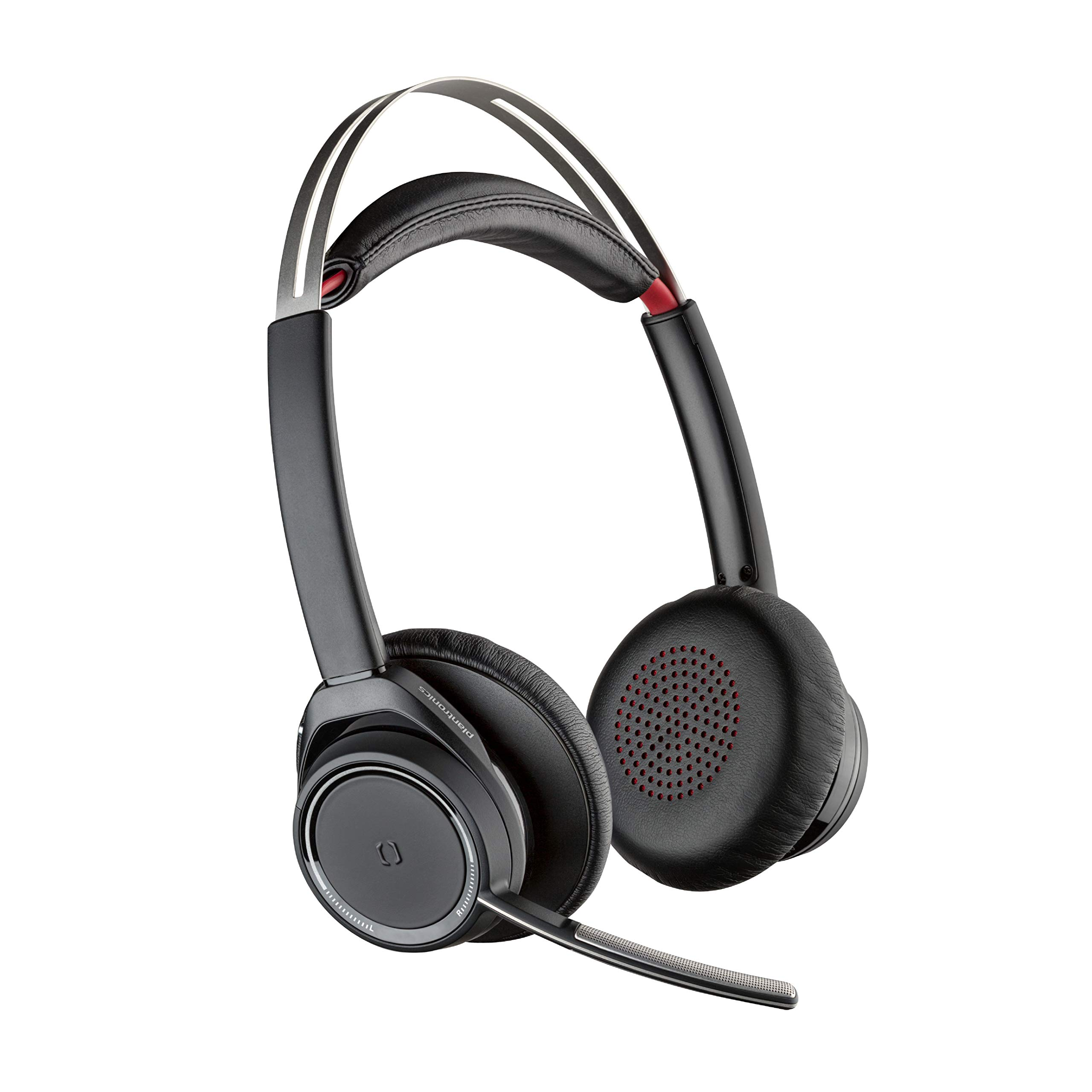 Plantronics - Voyager Focus UC with Charge Stand (Poly) - Bluetooth Dual-Ear (Stereo) Headset with Boom Mic - USB-A PC/Mac Compatible - Active Noise Canceling-Works with Teams (Certified), Zoom & more