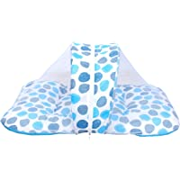 Toddylon Baby Sleep Care Mosquito Net Bed with Cute Pillow(Blue Polka dots)0-12 Months