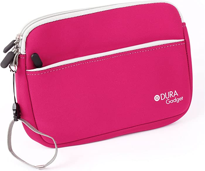 """DURAGADGET Hot Pink 10"""" Neoprene Water-Resistant Case for The Acer Aspire Switch 10E, Switch 10 V & Iconia One 10 Tablets - with Zipped Front Storage Pocket & Removable Wrist Strap"""