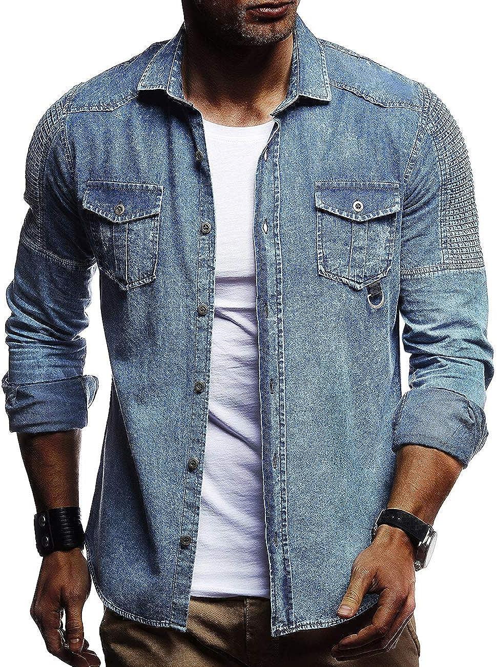 Camisa vaquera de manga larga para hombre de SoMTHRON, corte ajustado, tallas M-3XL: Amazon.es: Ropa y accesorios