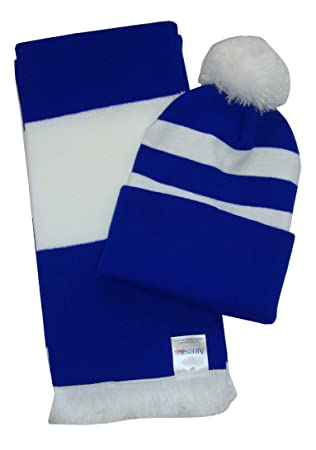 Royal Blue And White Scarf And Hat Set Amazoncouk Sports Outdoors