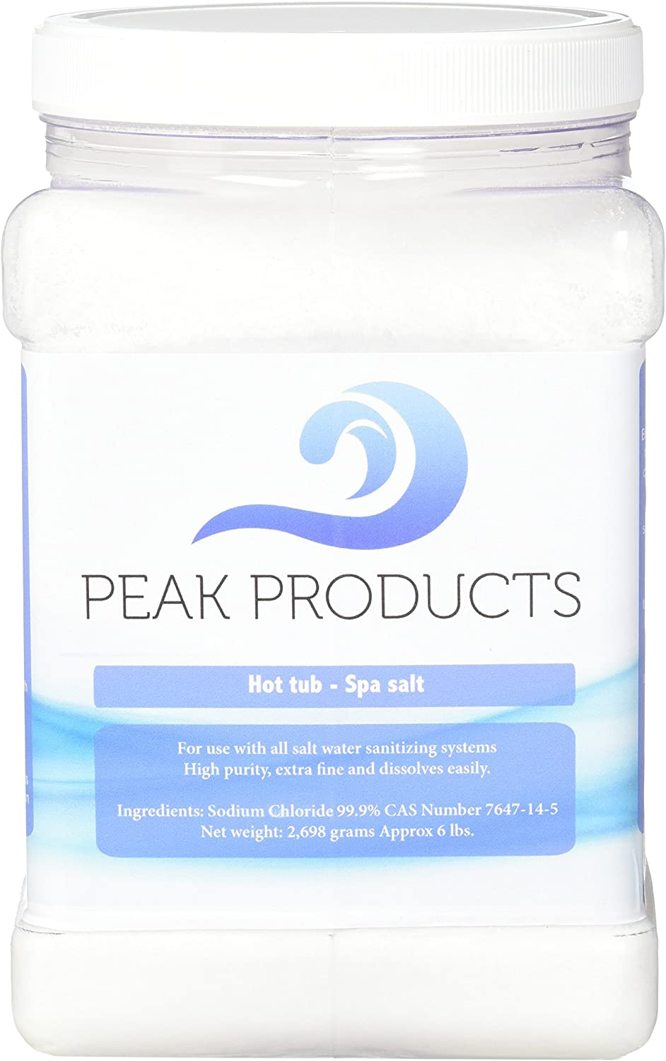 Peak Products Hot Tub Salt and Spa Salt for All Salt Water Sanitizing Systems and Chlorine Generators Including Hotspring, Jacuzzi, Caldera, and Chloromatic - 6 Pounds