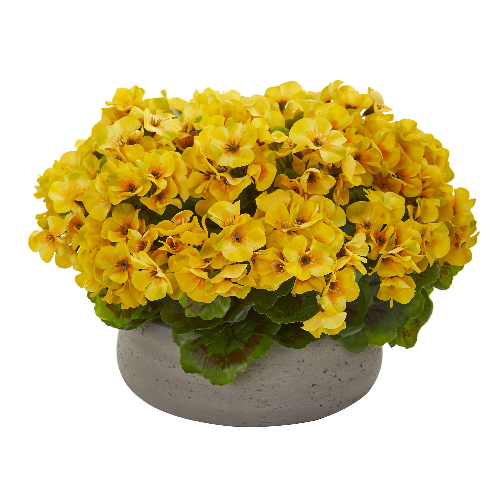Nearly Natural 8193-YL Geranium Artificial Stone Planter UV Resistant (Indoor/Outdoor) Silk Plants, Yellow