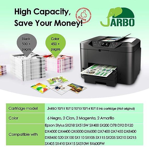 JARBO Reemplazo para Epson T0711 T0712 T0713 T0714 (T0715 ...