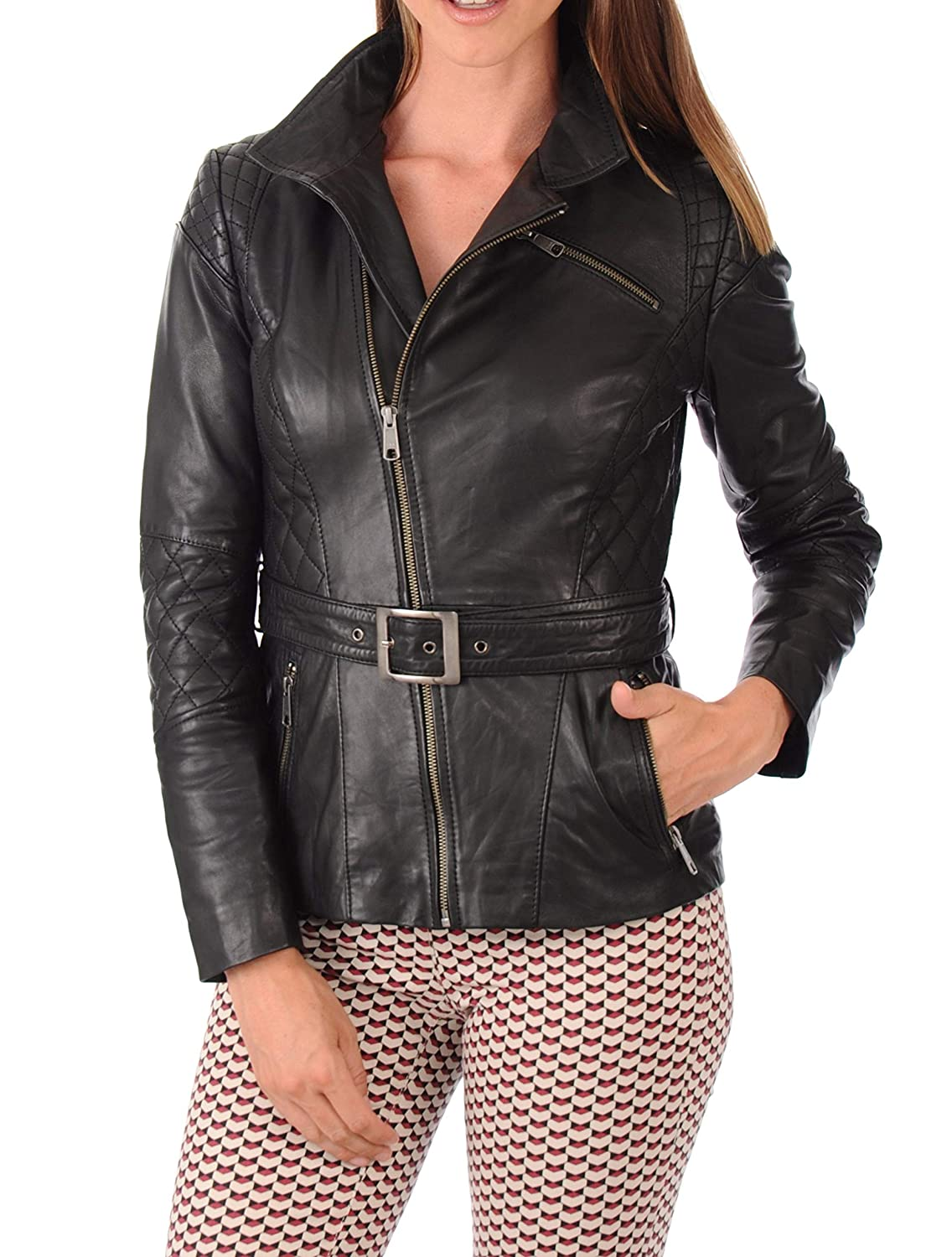 Black25fc DOLLY LAMB 100% Leather Jacket for Women  Slim Fit & Quilted  Moto, Bomber, Biker Winter Casual Wear