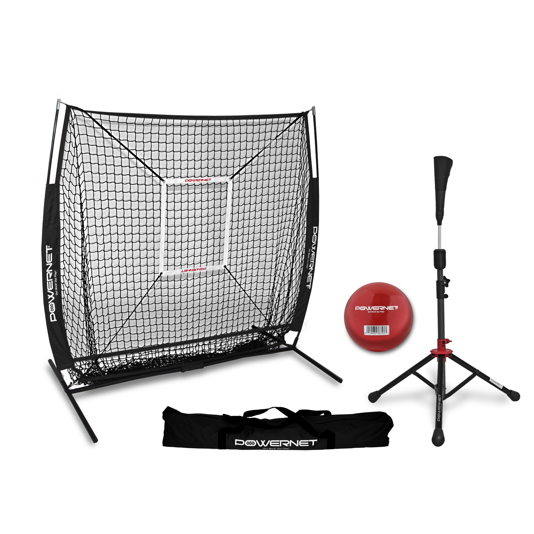 PowerNet 5x5 Practice Net + Deluxe Tee + Strike Zone + Weighted Training Ball Bundle (Black) | Baseball Softball Pitching Batting Coaching Pack | Work on Pitch Accuracy | Build Plate Confidence