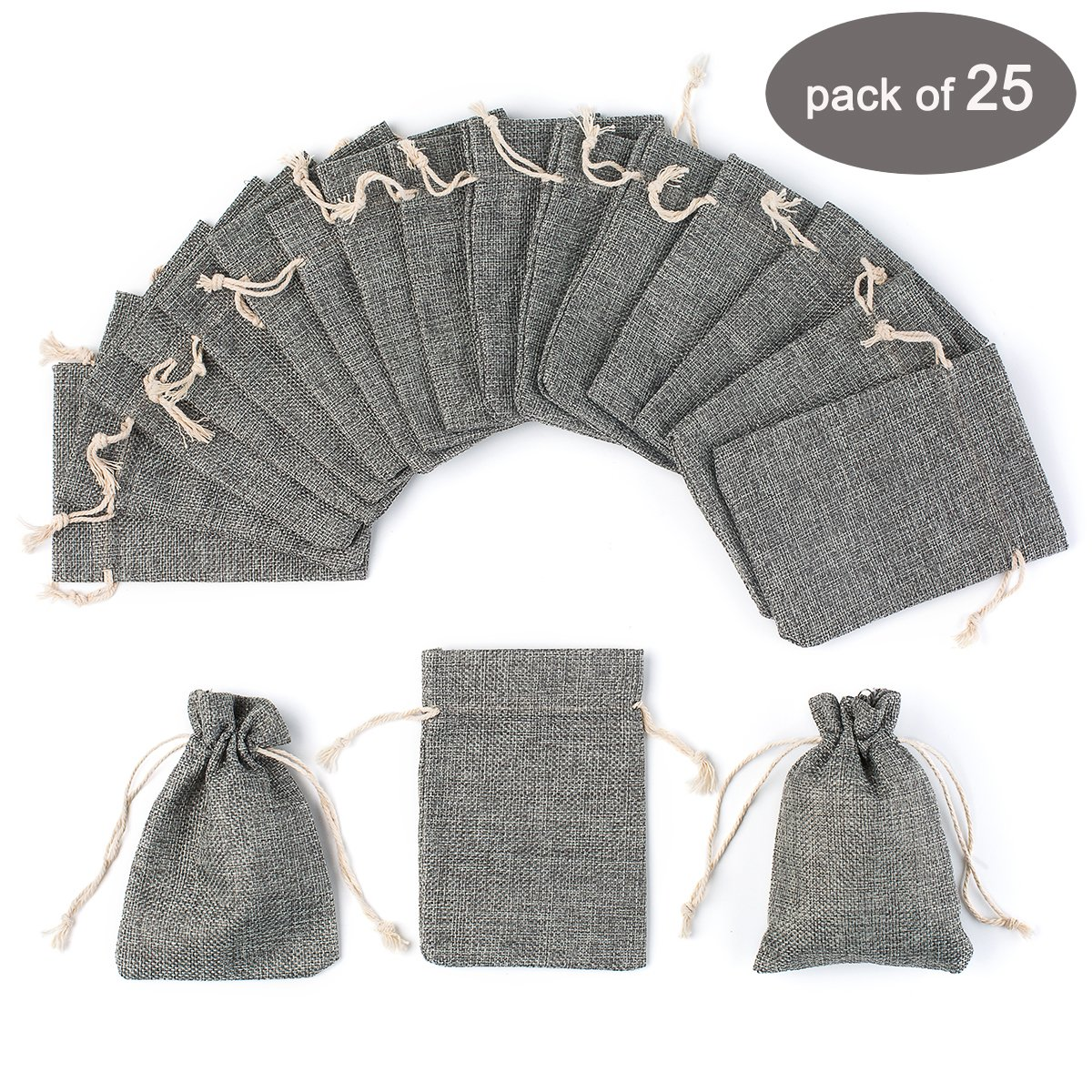 Amazon.com: Yuxier 25pcs Burlap Bags with Drawstring Gift Bags for ...