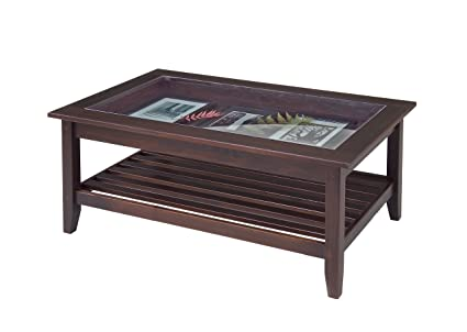 Superbe Manchester Wood Glass Top Display Coffee Table   Chestnut